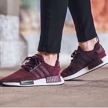 Adidas NMD R1 Burgundy Casual Running Sport Shoes Sneakers
