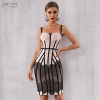 Adyce Sexy 2019 New Summer Bandage Dress Women Vestido Bodycon Lace Spaghetti Strap Club Dress Midi Celebrity Runway Party Dress
