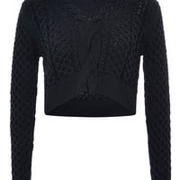Cropped Cotton-Blend Cable-Knit Sweater