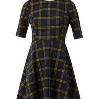 Navy and Yellow 1/2 Sleeve Check Skater Dress