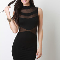 Mock Neck Mesh Panel Bodycon Dress