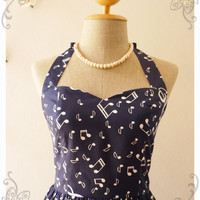 Music In Navy Blue Dress Music Band Dress Retro Party Cocktail Bridesmaid Choir Concert Event Singer Dress -Size S -Ready to ship