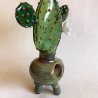 Glass Tobacco pipe    Cactus Flower Power