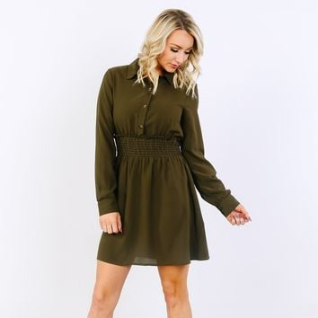 Collared Button Smock Dress