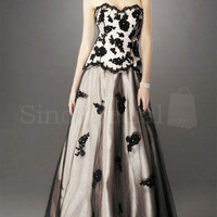 Black A-line Applique Strapless Floor Length Tulle Evening Dress  from SinoSpecial