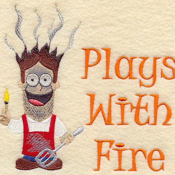 Plays With Fire Men's Apron BBQ Apron Father's Day Gift, Birthday Gift, Host Gift