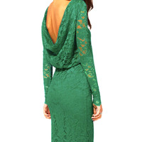 Green Lace Long Sleeve Mid Dress with Cowl Back and Slit