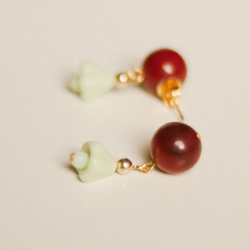 Dark red + mint green bead dangle drop earrings, gold, red quartzite stone, green jade milk glass tulip lily flower beads, mid century Asian