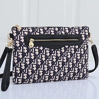 Christian Dior embroidered letters ladies shopping cosmetic bag clutch Black
