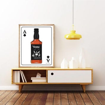 LEMMY - MOTORHEAD. Ace of Spades - Jack Daniels Whisky Bottle Poster.