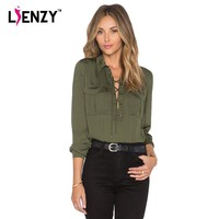 LIENZY Summer Elegant Women Amy Blouse Bandage Long Sleeve Polo Neck Deep Neck ladies office shirts With Pocket Clothes