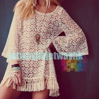 Vintage Hippie Boho Bell Sleves Gypsy Festival Fringe Lace mini Dress Top S M L
