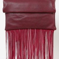 Fringe Roll Up Envelope Clutch BURGUNDY