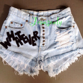 Whatever Hipster Grunge Gothic clothing Levis High waisted denim shorts Studded Shredded ripped Custom Made To Order by Jeansonly