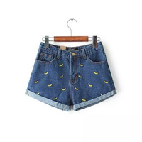 Denim Bananas Embroidered Cuffed Shorts With Pockets