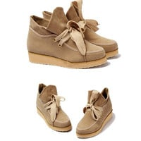 Inflated Topline Wide Shoelaces Pointed Shoes For Women China Wholesale - Sammydress.com