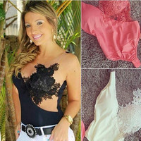 Sexy Lace Splicing Irregular Short Triangle Jumpsuit