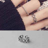 Jewelry Stylish Gift Shiny New Arrival Korean Simple Design Innovative Weathered Silver Ring [11213292308]