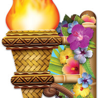 3-D Tiki Wall Torch with Flame Case Pack 12