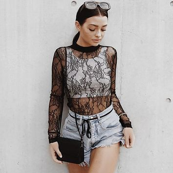 Women's Fashion Tops Winter Long Sleeve Lace Hollow Out Sexy Slim T-shirts [68970184719]