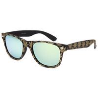 Blue Crown Golden Pot Leaves Classic Sunglasses Gold One Size For Men 25758362101