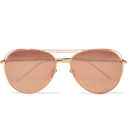 Linda Farrow - Aviator-style rose gold-plated mirrored sunglasses