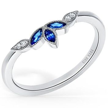 Kirk Kara Nature-Inspired Blue Sapphire Wedding Band