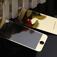 Iphone 6 Colored Mirror Screen Protector [Tempered Glass],connetech Electroplating Mirror Effect Front Screen & Back Tempered Glass Screen Protector Whole Body Protection Anti Scratches for Iphone 6 6s 4.7inch (Gold)
