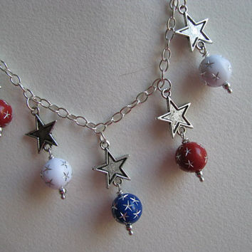 Patriotic Necklace - Red White n Blue Star Silver Necklace