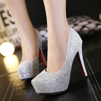 Summer Stylish Round-toe Waterproof High Heel Shoes [6408103940]