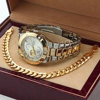 Silver PT Designer Bezel Metal Band Round Watch Diamond Cut Cuban Bracelet G82G