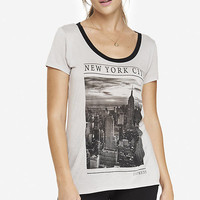 SCOOP NECK GRAPHIC TEE - NYC SKYLINE from EXPRESS