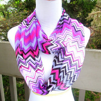 Summer Chiffon Pink purple infinite chevron Scarf