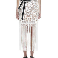 White Embroidery Lace Tassels Pencil Skirt