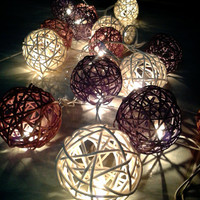 20 x wood and white color Rattan ball string light for home decorations.