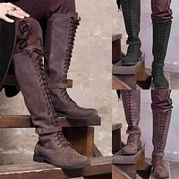 Medieval Costume Men Knight Boots Viking Cosplay Larp Shoes PU Leather Warrior Women Cosplay Fancy Boot Carnival Party Steampunk