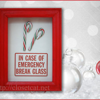Candy Cane Christmas Gift - In Case of Emergency - New Years decor, Christmas decorations, Rusteam, Red White Christmas, Stocking stuffer