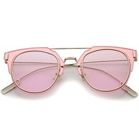 Modern Ultra Thin Minimal Wire Temple Inner-Rimmed Pantos Metal Sunglasses 58mm