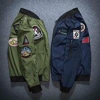 Spring and Autumn Men and Women Embroidered US Air Force Baseball Jersey MA-1 Pilot Jacket Couple Coat
