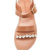 Embellished Leather Sandal with Small Stones in Caramel