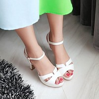 Open Toe High Heel Platform Sandals 6397