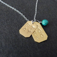Stay Strong Necklace, STERLING SILVER, Turquoise Jewelry, Motivational, Demi Lovato, Cancer, Strength