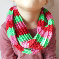 Girls Crochet Circle Scarf in Red, Kelly Green and Pink, Wrap Scarf, Christmas Scarf, ready to ship.