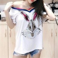 """Gucci"" Women Casual Fashion Diamond Cartoon Rabbit Embroidery Short Sleeve T-shirt Top Tee"