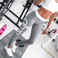2017 Women Activewear sexy cut exercise Leggings fall light gray pink pants waist fashion printing leggings Slim pants