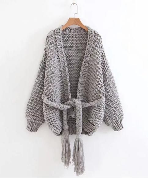 Image of Autumn and winter thick line sweater women's new ins band bandwidth loose hand-knitted jacket