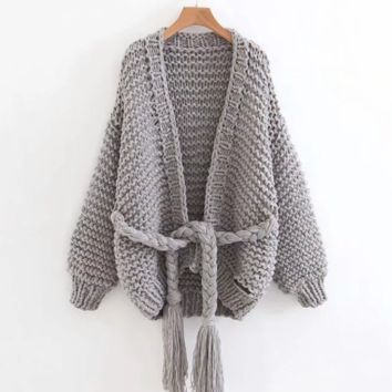 Autumn and winter thick line sweater women's new ins band bandwidth loose hand-knitted jacket