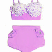 Purple Lavender Lace Daisy Sakura set Top and High Waisted Waist High-waist Shorts Bottom Swimsuit Swimwear Swim Bikini 2PC Bathing suit S