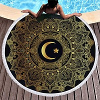 Bedding 3D printing moon stamping Round Bohemian Beach towel home textile