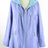 Mycra Pac Now Reversible Periwinkle and Aqua Swing Raincoat Rain Coat  0P
